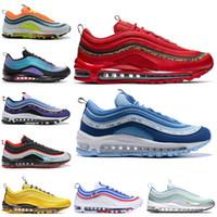zapatos de mujer de leopardo rojo al por mayor-Nike Air Max 97 Shoes London Summer of Love Hombre Zapatillas de running Throwback Futuro Brillante Citron LEOPARD ROJO Mujeres Entrenador Zapatillas deportivas 36-45