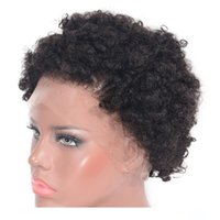 Wholesale brazilian short virgin curly wig resale online - H Afro Kinky Curly Full Lace Wigs For Black Women inch Short Natural Color Brazilian Virgin Human Hair Lace Front Wigs