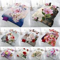 ingrosso cuscino reattivo-Vendita calda New 3D Set di biancheria da letto Stampa reattiva fiori modello Quilt Cover Lenzuolo Federa 4 pezzi