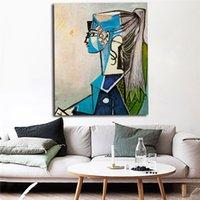 retratos de pintura de quarto venda por atacado-Retrato de Sylvette David Em Cadeira Verde 1954 Por Pablo Picasso Art Canvas Poster Pintura Retrato Da Parede de Impressão Casa Quarto Decor