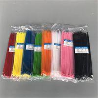 naylon kravat kilitleri toptan satış-Kendinden kilitleme Naylon çemberleme Bant naylon kablo kravat 100pcs Plastik Tie 3 * 150mm bağlama şal askıları renkli Zip