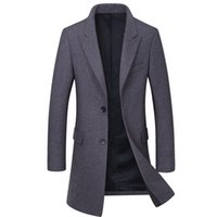 брендовая шерсть оптовых-New  Men Wool Coat Fashion Quality Wool Blend Long Overcoat Male Winter Trench Pea Coat Men's