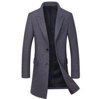 marka hendek yünü toptan satış-Yeni Marka Erkekler Yün Ceket Moda Kalite Yün Karışımı Uzun Palto Erkek Kış Siper Bezelye Ceket erkek