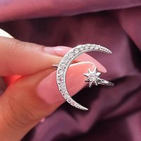 mädchen öffnen sich großhandel-2019 neue Mode Ring Moon Star Dazzling Offenen Fingerring Für Frauen Mädchen Schmuck Reine Hochzeit Engagement Schmuck Geschenke