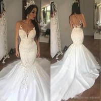 Wholesale laced fitted bride dresses resale online - 2018 New Arrival Train Arabic Mermaid Lace Wedding Dresses Sheer Fitted Plus Size Dubai African Bridal Gown Vestido de novia Bride Dress
