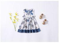 elbise kalemi toptan satış-Ins tarzı yeni yaz pet kalem yaka kolsuz çiçek baskı kız elbise çocuk giyim zarif ins Yaz elbise