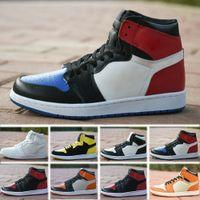 color azul polvo al por mayor-Nueva Realese con la caja original de calidad Nuevos 1 Chicago rojo polvo de color azul Unc hombres y los zapatos de baloncesto de las mujeres blancas zapatillas de deporte.