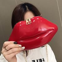 Wholesale lip shape clutch bag for sale - Fashion Women Patent Leather Red Lips Clutch Bag Ladies Chain Shoulder Bag Handbags Evening Bag Lips Shape Purse