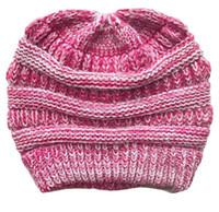 Wholesale white crochet beret hat for sale - Group buy Hot designer warm beanie knitted girls ponytail hat woolen wool beret cap label crochet women ears beanies hats headwear