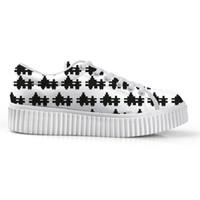 siyah sülükler dantel toptan satış-Moda Siyah ve Beyaz Damalı Desen Kadın Düz Bir Platform Ayakkabı Kadın Öğrenciler için Creepers Flats Dantel-up Ayakkabı
