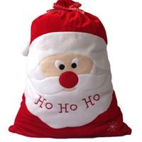 chocolate de navidad al por mayor-Exquisita decoración del día de Navidad Santa Saco grande Stocking Bolsas de regalo grandes HO HO Navidad Santa Claus Regalos de Navidad bolsas de navidad