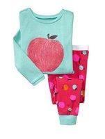 ingrosso vestito verde della mela-T-shirt a maniche lunghe di mela verde + pantaloni Intimo per ragazza 2 pezzi Completo per bambini Set per bebè Home Wear Pigiama Completo da notte