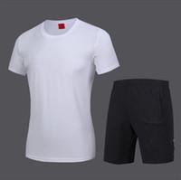 camisas misturadas da cor t venda por atacado-Fatos de treino dos homens 2019 Nova Moda Ativo Pure Color Imprimir Respirável Macio Pulôver T-shirt Shorts de Algodão Mistura Tamanho L-5XL