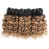 Wholesale blonde curly remy hair weave for sale - Group buy Brazilian Curly Hair Water Wave Hair Bundles B Ombre Honey Blonde inch Bundles Remy Human Hair Extensions