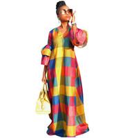 robe décontractée longue et colorée achat en gros de-Coloré Plaid Maxi Dress Femmes Automne Col En V Lantern Sleeve De Longues Robes Décontractées Robes De Soirée De Longueur De Plancher Élégant