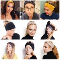 turbante de yoga al por mayor-Mujeres anudadas ancho venda de la venda del yoga Cross Stretch deportes Hairband Turban banda para la cabeza para mujer accesorios para el cabello 30PCS