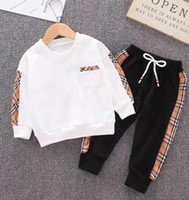 Wholesale free shipping children t shirt for sale - Group buy Kids Clothing Sets Designer tag Baby Boys Girls Sweatshirt Trousers Children Clothes T Shirt Pants Suit