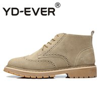 ботинки офисной обуви оптовых-New Brand Leather  Boots Brogue Fashion Mens Ankle Boot Autumn Spring Winter Man's Casual Footwear Office Shoes