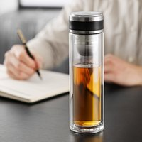 Wholesale double wall tea mugs for sale - Group buy oneisall Portable Office Double Wall Glass Tea Bottle With Stainless Steel Tea Filter Water Bottle Anti Scalding Business Mug Y200330