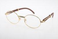 marcos de anteojos redondos vintage para hombres. al por mayor-2019 Hot High-end eye Gafas redondas vintage Gafas ovaladas Metal caliente Unisex 2822546 Gafas de madera Gafas para hombres Marcos Tamaño: 53-22-135 MM