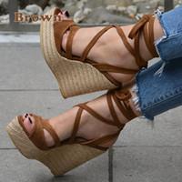sangles c achat en gros de-Hot vente-nouvelles femmes plate-forme d'été sandales à bout ouvert talons hauts Wedge Casual plage bandage à la cheville sangle croisée chaussures plus