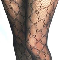 tayt tayt siyah beyaz toptan satış-Mektup Logosu Tayt İlkbahar Sonbahar Kış Seksi Tayt Fishnet Çorap Tayt kadın Çorap Siyah Beyaz Renk