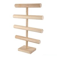 tela de cinta china al por mayor-4 niveles de T-Bar stand de joyería cremallera de una pieza de joyería de madera titular de visualización de la pulsera del reloj del brazalete del aro del pelo