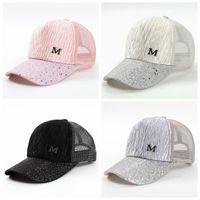 kız şapkalı moda toptan satış-M Mektup Kap Yaz Örgü Beyzbol Kapaklar Kız Kırışıklık Snapbacks Moda Hip Hop Kap Şapka Çiftler Düz Kap Parti Şapkalar GGA2015