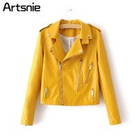 damen gelb daunenjacke großhandel-Gelbe Mode Leder Faux Jacken Frauen Herbst Winter Umlegekragen Reißverschluss Grundjacke Mäntel Damen Streetwear 2018