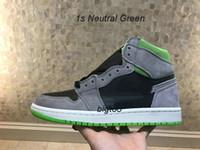 kaliteli kadın basketbol ayakkabıları toptan satış-2019 yeni 1 retro yüksek erkekler kadınlar basketbol ayakkabı kaliteli 1 s Nötr Yeşil vahşi kültür spor ayakkabı