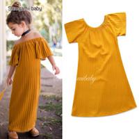 vestidos de un hombro amarillo para niños. al por mayor-Niñas vestidos de princesa para niños bohemio de una pieza de verano fuera del hombro manga corta playa amarilla fiesta vestido largo 80cm-120cm