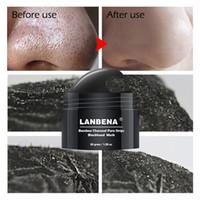 tratamento dos poros nasais venda por atacado-LANBENA Removedor de Cravo Nariz Peel Máscara Preta Tratamento Da Acne Pore Tira Peel off Máscara Máscara Facial Cuidados Com A Pele Com 60 pcs Papel