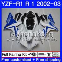 yamaha r1 carenados blanco al por mayor-Bodys white factory blue Para YAMAHA YZF R 1 YZF 1000 YZF-1000 YZFR1 02 03 Carrocería 237HM.11 YZF R1 02 YZF1000 YZF-R1 2002 2003 Carenado Carenado