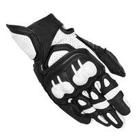 motokros yarış eldivenleri toptan satış-Bir GPX Motosiklet Eldiven Kısa paragraf Gerçek Deri yarış Motosiklet Koruyucu Gears Motocross Eldiven Moto Su Geçirmez