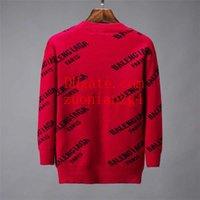 suéter rojo suelto tops al por mayor-2019 hombres de la marca suéteres rojos cuello redondo letra de impresión suéteres sueltos de punto transpirable hombres sudadera tops hombres de calidad ropa TS-4