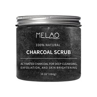 Wholesale natural body charcoal for sale - MELAO Activated Charcoal Exfoliante Facial Scrub Blackhead Remover Anti Cellulite Treatment Great Body Scrub g