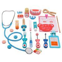ingrosso giocattoli giocattoli-Nuovo arrivo durevole 24pcs bambini finta gioca giocattoli legno dottore simulazione stetoscopio playset per i bambini regali di Natale