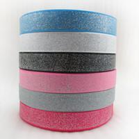 fita de decoração de mesa de prata venda por atacado-Largura 25mm de Prata Brilhoso Fita Com Glitter Glitter Decoração para Festa de Casamento Presente Da Tabela Caixa de Bolo Envoltório Fita