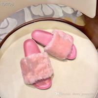 pantoufles d'hôtel personnalisées achat en gros de-Pantoufles femme en fourrure Tissu, laine importée sur mesure Le fond est en caoutchouc souple Confortable au pied Pantoufles plates