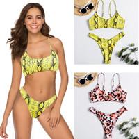 traje de baño leopardo xl al por mayor-2019 Bikini traje de baño Sexy de gama alta trajes de baño Nuevo patrón de estampado de leopardo Beach Bikini traje de baño para mujeres XL fábrica al por mayor