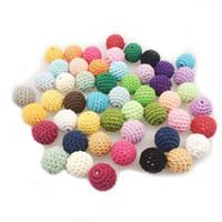 brinquedos crocheting venda por atacado-20mm DIY Teether De Madeira Do Bebê Teether Brinquedos De Madeira Contas De Crochê Rodada Beads Acessórios de Jóias de Enfermagem Artesanal Colar Pulseira