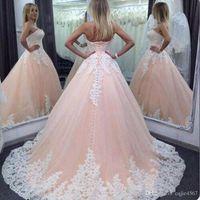 vestidos de quinceanera rosa branco venda por atacado-2019 New Quinceanera vestido de Baile Vestidos Querida Rosa Branco Rendas Apliques de Longo Doce 16 Plus Size Festa Prom Vestidos de Noite 584