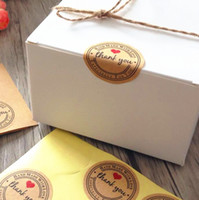 Wholesale paper tags sticker resale online - Thank You Love Self Adhesive sealing Stickers Kraft Label Sticker DIY Hand Made Gift Cake Candy Paper Tags
