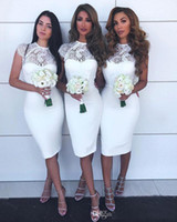 Wholesale satin lace dress burgundy knee length resale online - Simple Short Bridemaid dresses with Jewel Neck Lace SAtin Knee Length Wedding Guest Dresses Cheap