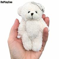 mini bebek video toptan satış-50 adet / grup Mini Ortak Teddy Bear Peluş Oyuncaklar Zincir Beyaz Sakızlı Ayılar 12 cm Hayvan Düğün için Peluches Bicho Ursinho De Pelucia Doll