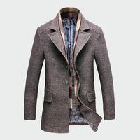 laine de tranchée de marque achat en gros de-Hiver Hommes Casual Laine Trench-Coat Mode De Mode Longue Épais Slim Manteau Veste Mâle Peacoat Marque Vêtements M-4XL ML093