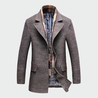 marka hendek yünü toptan satış-Kış erkek Rahat Yün Trençkot Moda Iş Uzun Kalınlaşmak İnce Palto Ceket Erkek Peacoat Marka Giysi M-4XL ML093