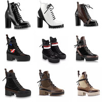 Wholesale clear shoes chunky heel resale online - 2019 Women Designer Luxury Boot Martin Desert Boot Flamingos Love Arrow Medal Genuine Leather Coarse Non Slip Winter Shoes Size US5