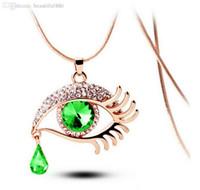 olhos mágicos venda por atacado-Blue Evil Eyes Pingente de Colar para As Mulheres Homens Declaração de Moda Jóias de Cristal Pestana Magia Olhos Colar de Luxo Festa