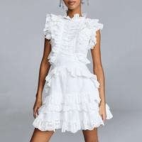 mini-robes mode coréenne achat en gros de-Creux sur des robes en dentelle femmes col montant sans manches taille haute une ligne robe femme été 2019 mode coréenne